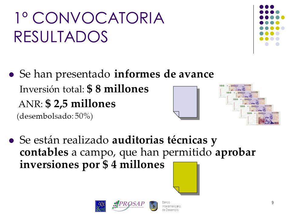 Banco Interamericano de Desarrollo 9 1º CONVOCATORIA RESULTADOS Se han presentado informes de avance Inversión total: $ 8 millones ANR: $ 2,5 millones