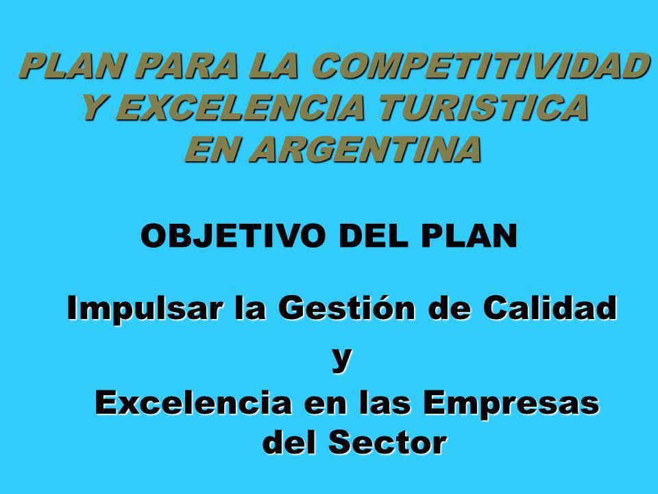 PLAN PARA LA COMPETITIVIDAD Y EXCELENCIA TURISTICA EN ARGENTINA OBJETIVO DEL PLAN Impulsar la Gestión de Calidad y Excelencia en las Empresas del Sect