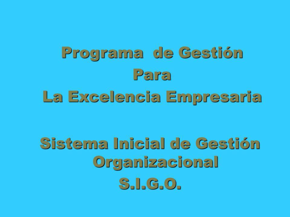 Sistema Inicial de Gestión Organizacional S.I.G.O. Programa de Gestión Para La Excelencia Empresaria