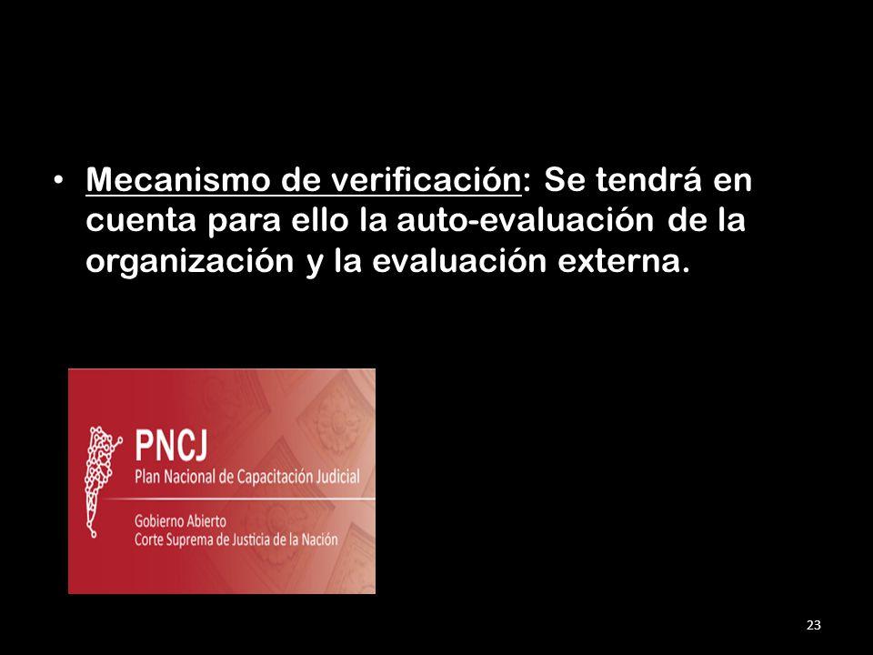 Mecanismo de verificación: Se tendrá en cuenta para ello la auto-evaluación de la organización y la evaluación externa.