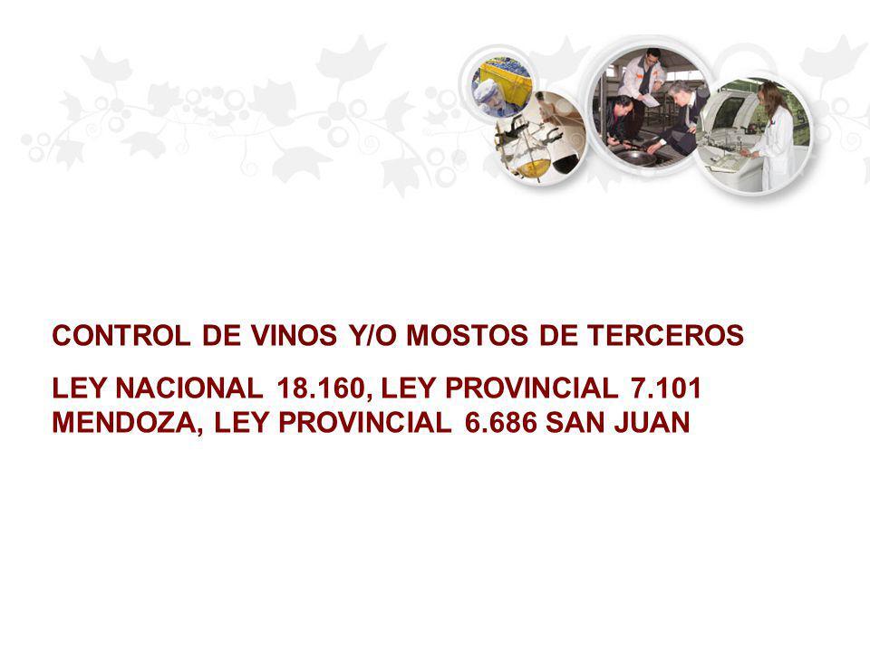 CONTROL DE VINOS Y/O MOSTOS DE TERCEROS LEY NACIONAL 18.160, LEY PROVINCIAL 7.101 MENDOZA, LEY PROVINCIAL 6.686 SAN JUAN