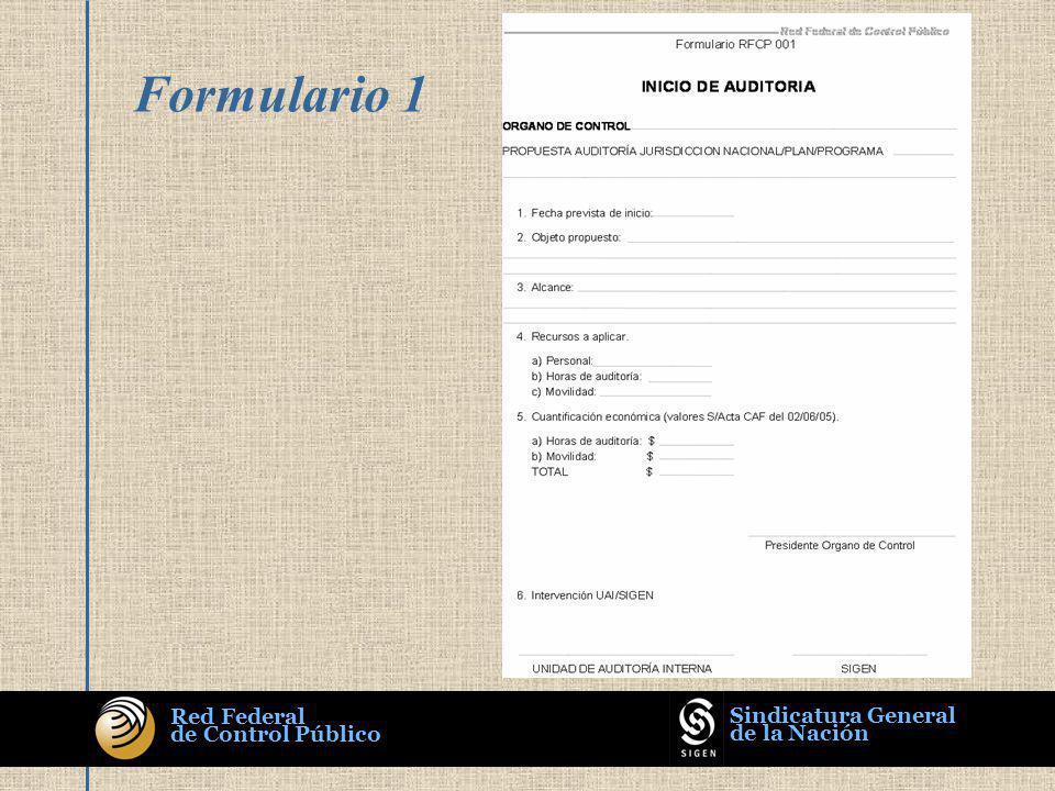 Red Federal de Control Público Sindicatura General de la Nación Formulario 1