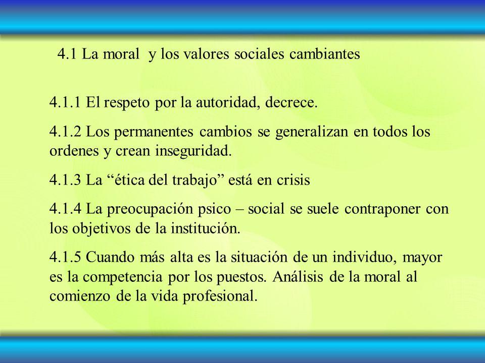 4.1 La moral y los valores sociales cambiantes 4.1.1 El respeto por la autoridad, decrece. 4.1.2 Los permanentes cambios se generalizan en todos los o