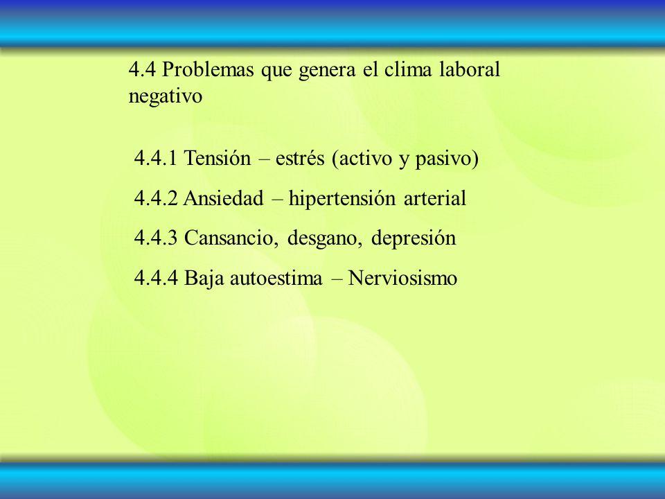 4.4 Problemas que genera el clima laboral negativo 4.4.1 Tensión – estrés (activo y pasivo) 4.4.2 Ansiedad – hipertensión arterial 4.4.3 Cansancio, de