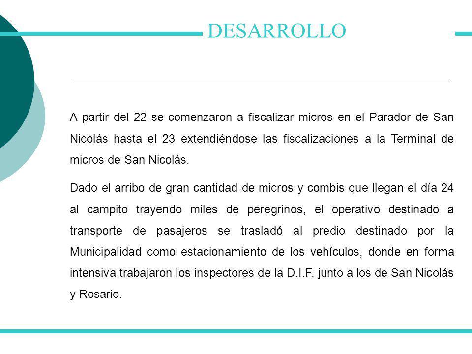 DESARROLLO A partir del 22 se comenzaron a fiscalizar micros en el Parador de San Nicolás hasta el 23 extendiéndose las fiscalizaciones a la Terminal