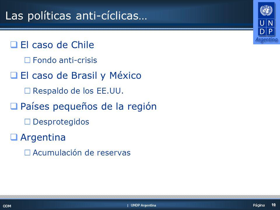 | UNDP Argentina ODM 10 Página Las políticas anti-cíclicas… El caso de Chile Fondo anti-crisis El caso de Brasil y México Respaldo de los EE.UU.