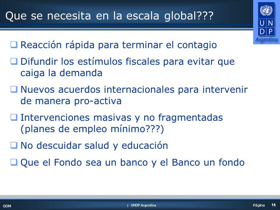 | UNDP Argentina ODM 14 Página Que se necesita en la escala global .