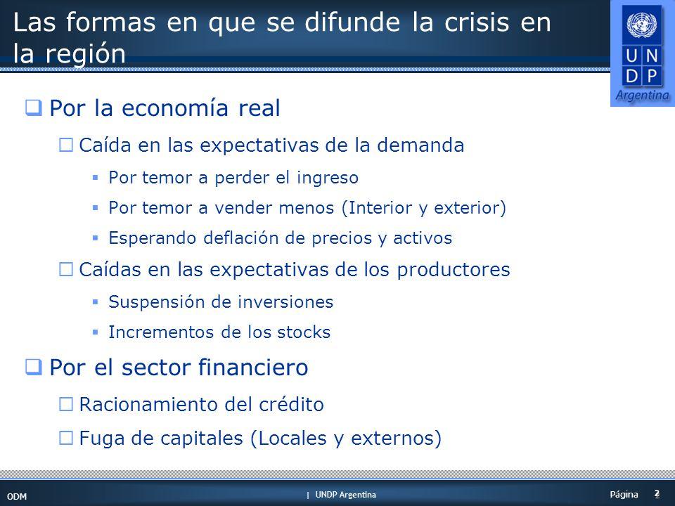 | UNDP Argentina ODM 2 2 Página Las formas en que se difunde la crisis en la región Por la economía real Caída en las expectativas de la demanda Por temor a perder el ingreso Por temor a vender menos (Interior y exterior) Esperando deflación de precios y activos Caídas en las expectativas de los productores Suspensión de inversiones Incrementos de los stocks Por el sector financiero Racionamiento del crédito Fuga de capitales (Locales y externos)