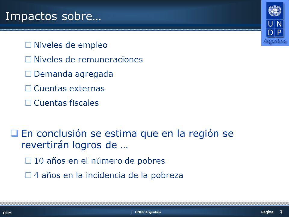 | UNDP Argentina ODM 3 3 Página Impactos sobre… Niveles de empleo Niveles de remuneraciones Demanda agregada Cuentas externas Cuentas fiscales En conclusión se estima que en la región se revertirán logros de … 10 años en el número de pobres 4 años en la incidencia de la pobreza