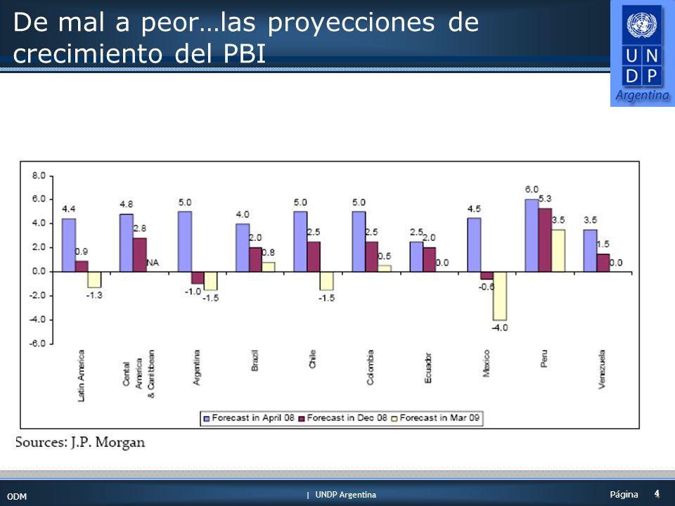 | UNDP Argentina ODM 4 4 Página De mal a peor…las proyecciones de crecimiento del PBI