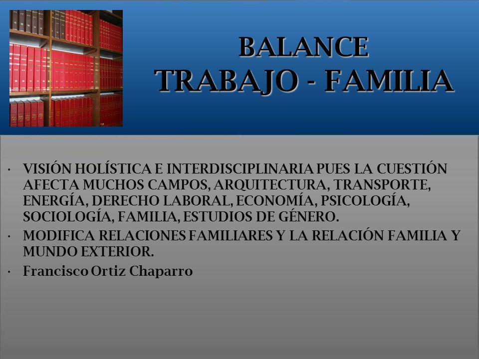 BALANCE TRABAJO - FAMILIA VISIÓN HOLÍSTICA E INTERDISCIPLINARIA PUES LA CUESTIÓN AFECTA MUCHOS CAMPOS, ARQUITECTURA, TRANSPORTE, ENERGÍA, DERECHO LABO