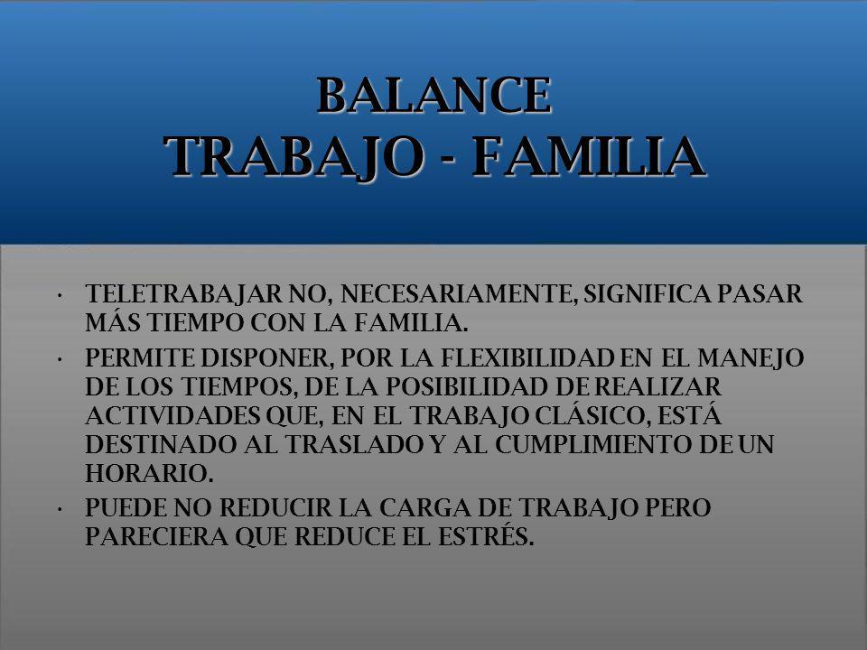 BALANCE TRABAJO - FAMILIA TELETRABAJAR NO, NECESARIAMENTE, SIGNIFICA PASAR MÁS TIEMPO CON LA FAMILIA. PERMITE DISPONER, POR LA FLEXIBILIDAD EN EL MANE