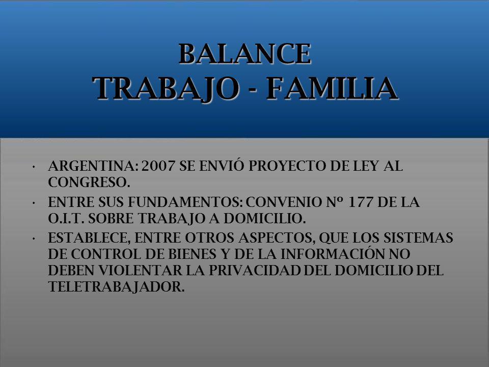 BALANCE TRABAJO - FAMILIA ARGENTINA: 2007 SE ENVIÓ PROYECTO DE LEY AL CONGRESO. ENTRE SUS FUNDAMENTOS: CONVENIO Nº 177 DE LA O.I.T. SOBRE TRABAJO A DO