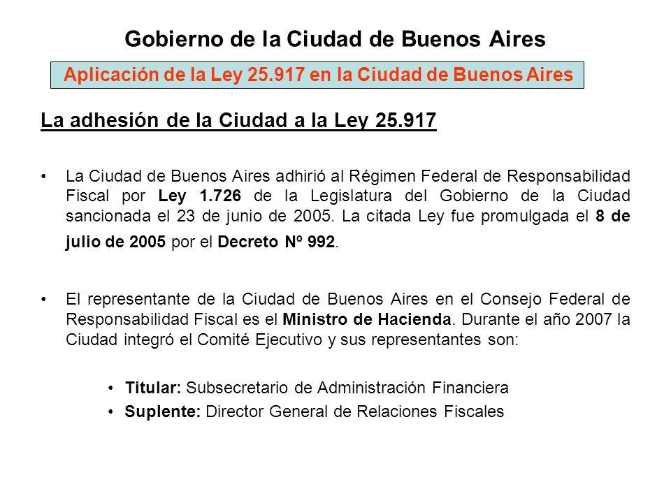 Gobierno de la Ciudad de Buenos Aires La adhesión de la Ciudad a la Ley 25.917 La Ciudad de Buenos Aires adhirió al Régimen Federal de Responsabilidad