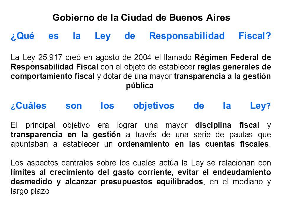 Gobierno de la Ciudad de Buenos Aires ¿Qué es la Ley de Responsabilidad Fiscal? La Ley 25.917 creó en agosto de 2004 el llamado Régimen Federal de Res