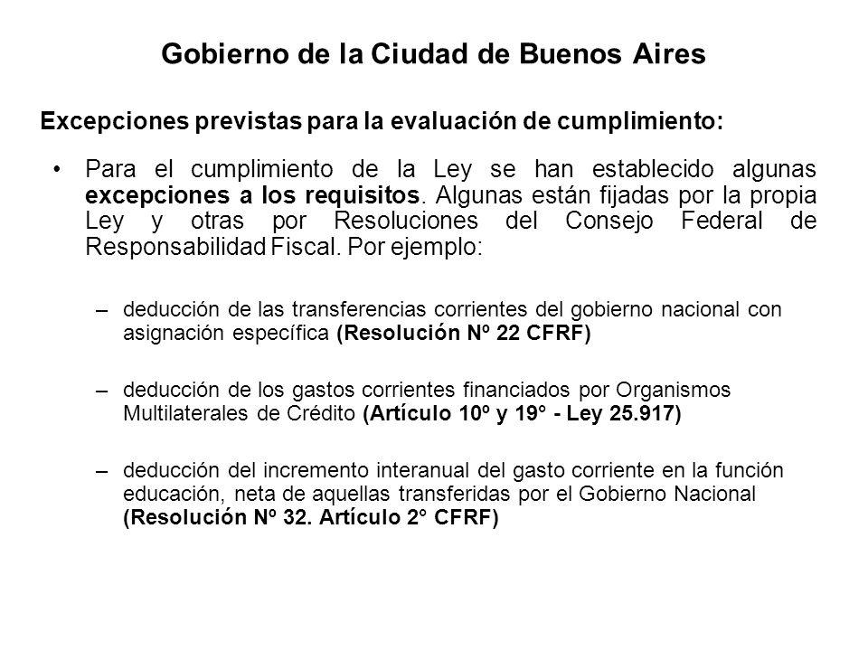 Gobierno de la Ciudad de Buenos Aires Para el cumplimiento de la Ley se han establecido algunas excepciones a los requisitos. Algunas están fijadas po