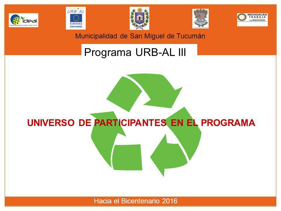 Programa URB-AL III Municipalidad de San Miguel de Tucumán Hacia el Bicentenario 2016 UNIVERSO DE PARTICIPANTES EN EL PROGRAMA