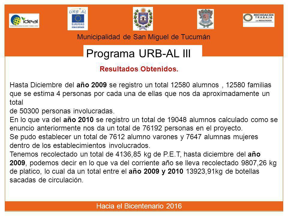 Programa URB-AL III Municipalidad de San Miguel de Tucumán Hasta Diciembre del año 2009 se registro un total 12580 alumnos, 12580 familias que se esti