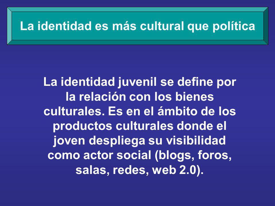 La identidad es más cultural que política La identidad juvenil se define por la relación con los bienes culturales.