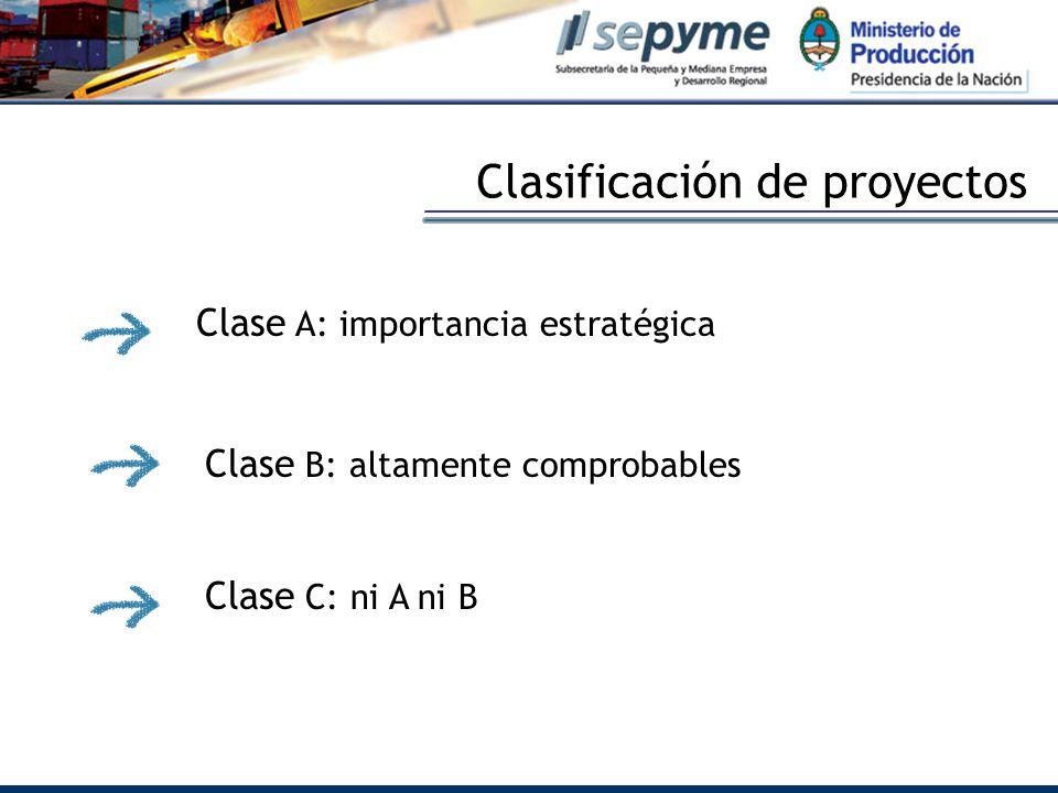 Clasificación de proyectos Clase A: importancia estratégica Clase B: altamente comprobables Clase C: ni A ni B