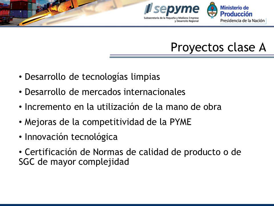 Proyectos clase A Desarrollo de tecnologías limpias Desarrollo de mercados internacionales Incremento en la utilización de la mano de obra Mejoras de la competitividad de la PYME Innovación tecnológica Certificación de Normas de calidad de producto o de SGC de mayor complejidad