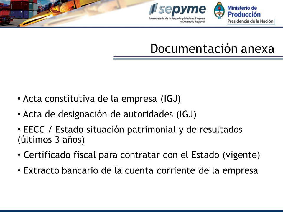 Acta constitutiva de la empresa (IGJ) Acta de designación de autoridades (IGJ) EECC / Estado situación patrimonial y de resultados (últimos 3 años) Certificado fiscal para contratar con el Estado (vigente) Extracto bancario de la cuenta corriente de la empresa