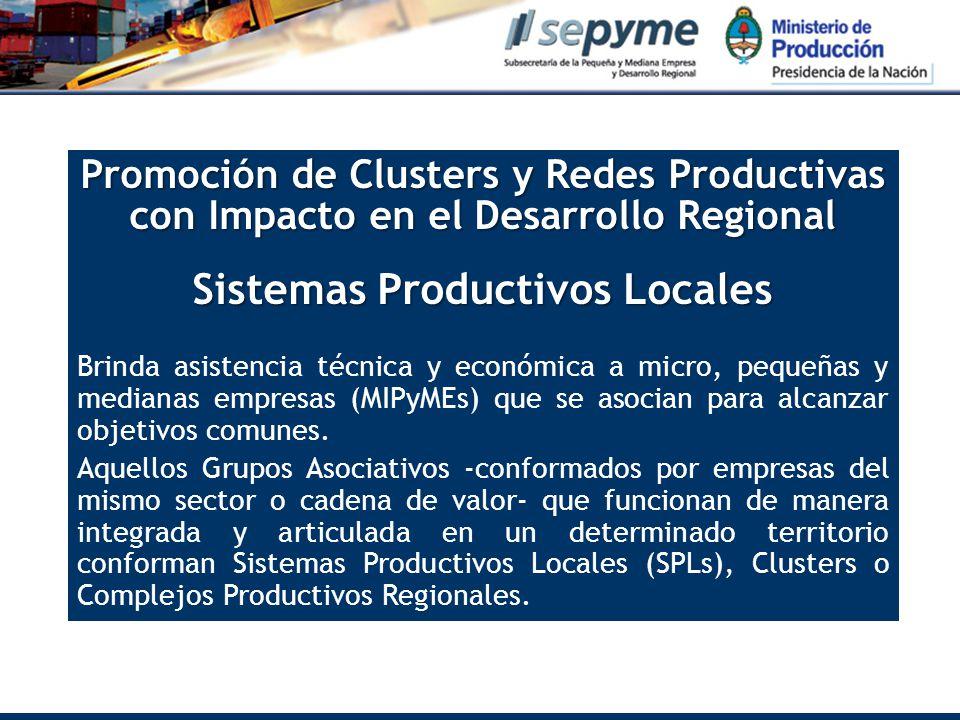 Promoción de Clusters y Redes Productivas con Impacto en el Desarrollo Regional Sistemas Productivos Locales Brinda asistencia técnica y económica a micro, pequeñas y medianas empresas (MIPyMEs) que se asocian para alcanzar objetivos comunes.
