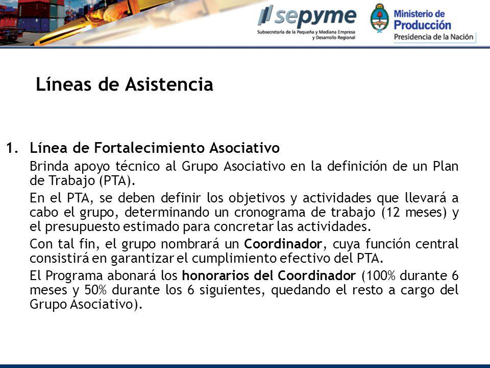 Líneas de Asistencia 1.Línea de Fortalecimiento Asociativo Brinda apoyo técnico al Grupo Asociativo en la definición de un Plan de Trabajo (PTA).