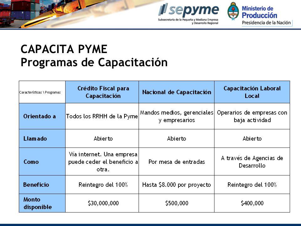 CAPACITA PYME Programas de Capacitación