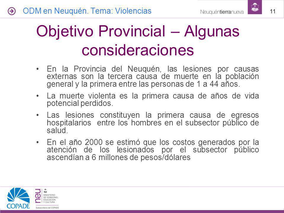 En la Provincia del Neuquén, las lesiones por causas externas son la tercera causa de muerte en la población general y la primera entre las personas de 1 a 44 años.