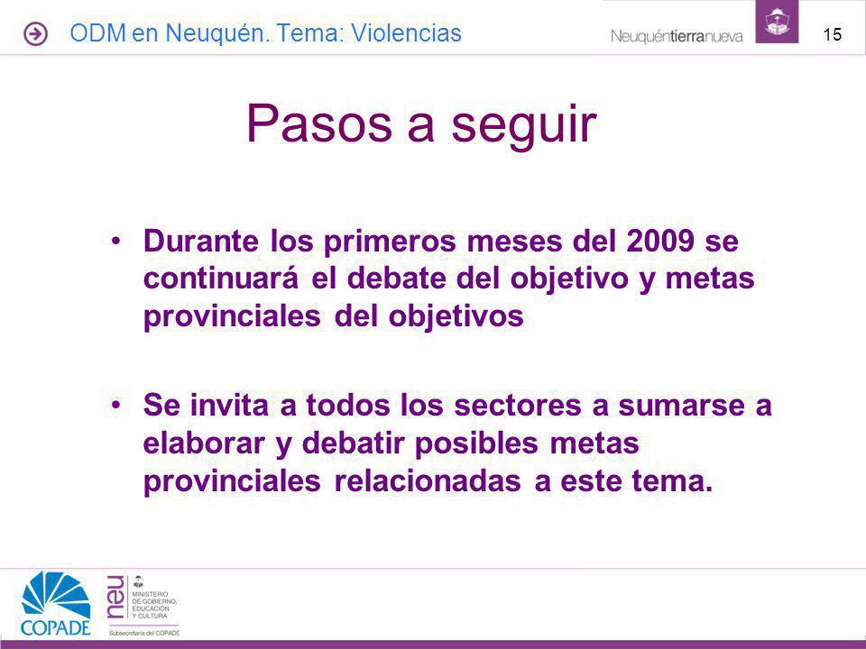 Durante los primeros meses del 2009 se continuará el debate del objetivo y metas provinciales del objetivos Se invita a todos los sectores a sumarse a elaborar y debatir posibles metas provinciales relacionadas a este tema.