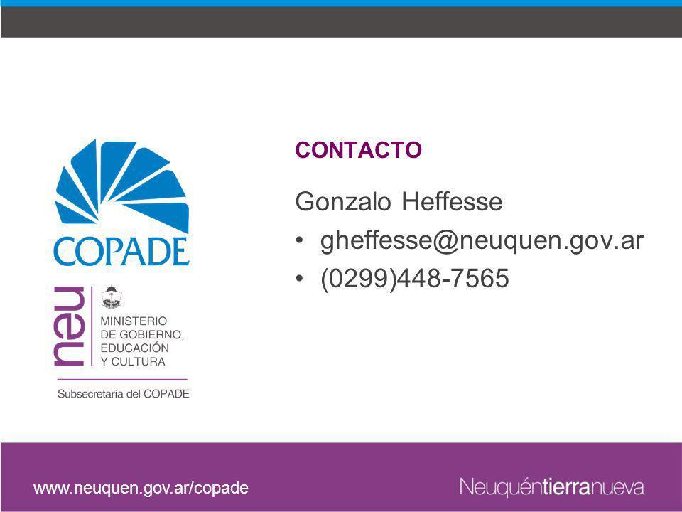 Gonzalo Heffesse gheffesse@neuquen.gov.ar (0299)448-7565 CONTACTO www.neuquen.gov.ar/copade