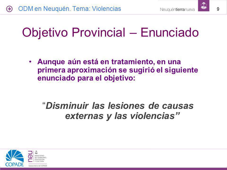 Aunque aún está en tratamiento, en una primera aproximación se sugirió el siguiente enunciado para el objetivo: Disminuir las lesiones de causas externas y las violencias 9 Objetivo Provincial – Enunciado ODM en Neuquén.