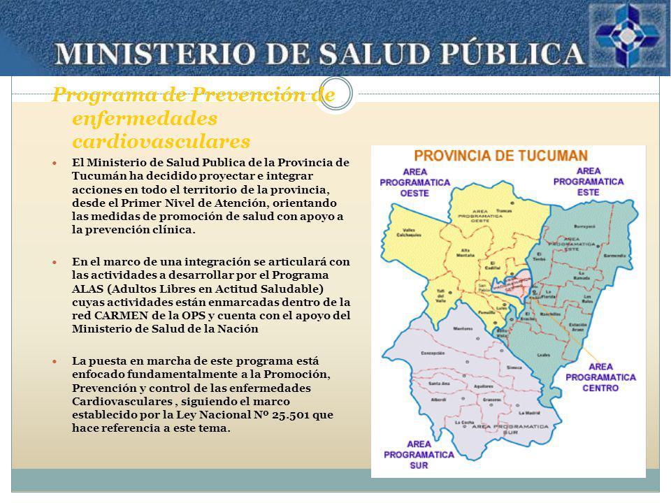 Programa de Prevención de enfermedades cardiovasculares El Ministerio de Salud Publica de la Provincia de Tucumán ha decidido proyectar e integrar acc