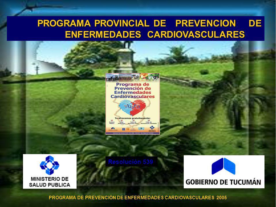 PROGRAMA PROVINCIAL DE PREVENCION DE ENFERMEDADES CARDIOVASCULARES PROGRAMA DE PREVENCIÓN DE ENFERMEDADES CARDIOVASCULARES 2005 Resolución 539
