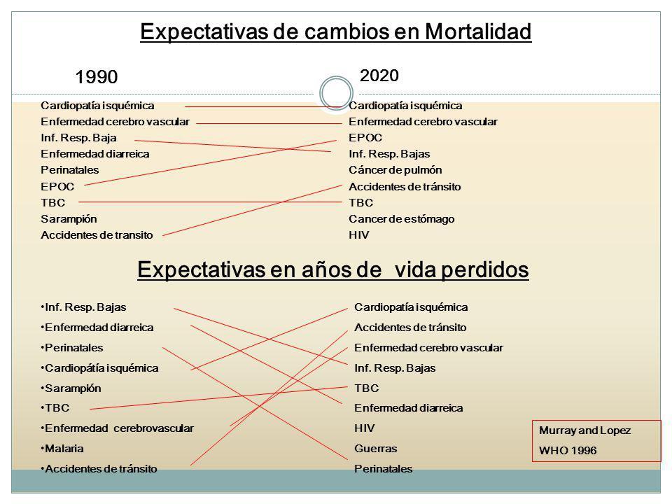 Expectativas de cambios en Mortalidad Cardiopatía isquémica Enfermedad cerebro vascular Inf. Resp. Baja Enfermedad diarreica Perinatales EPOC TBC Sara