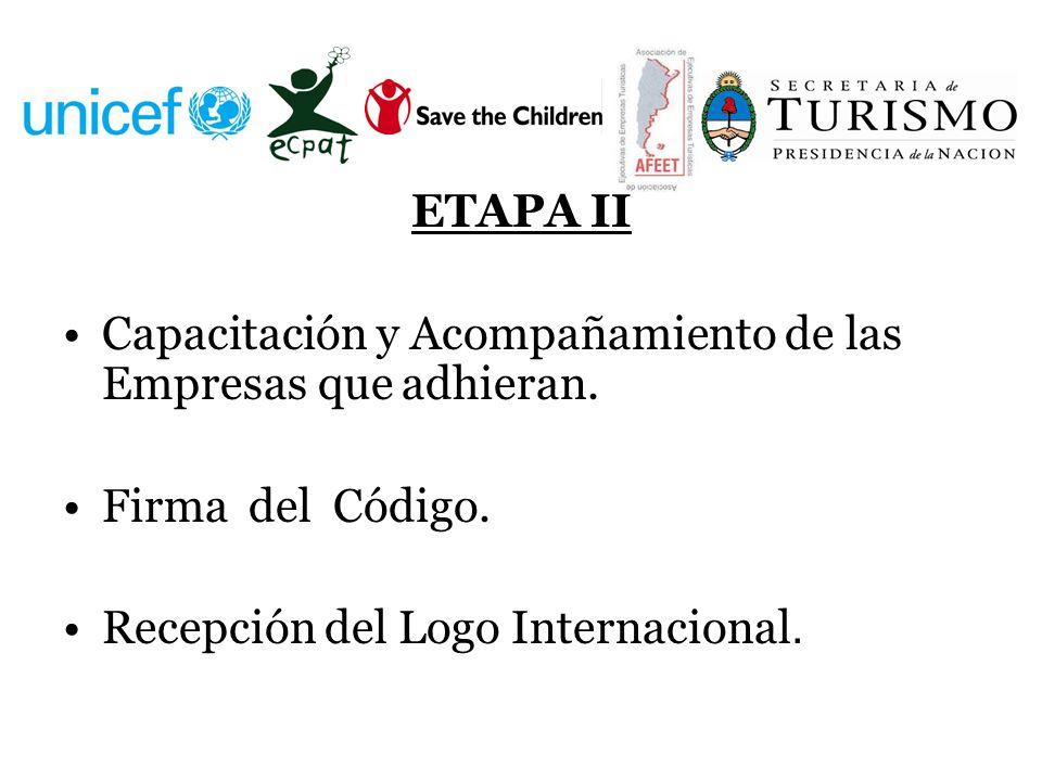 ETAPA II Capacitación y Acompañamiento de las Empresas que adhieran. Firma del Código. Recepción del Logo Internacional.