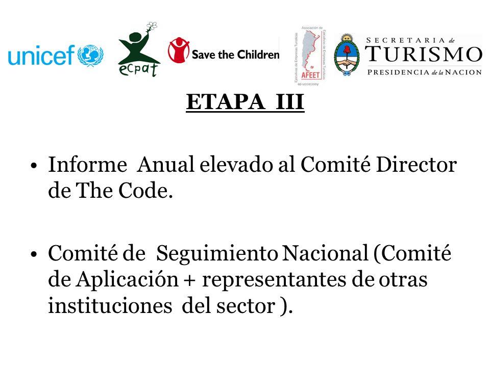 ETAPA III Informe Anual elevado al Comité Director de The Code. Comité de Seguimiento Nacional (Comité de Aplicación + representantes de otras institu