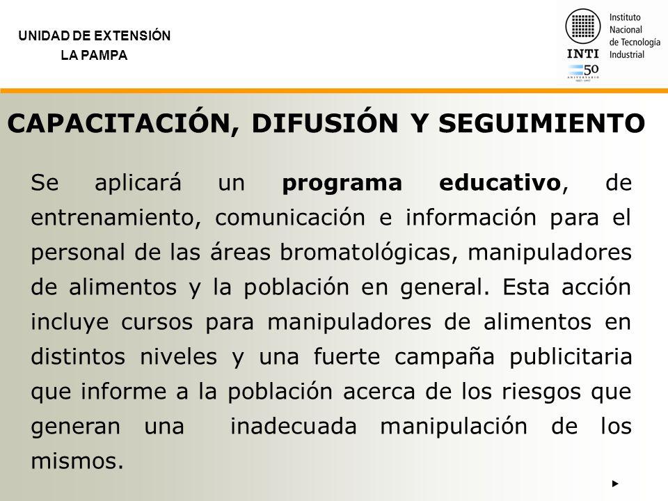 UNIDAD DE EXTENSIÓN LA PAMPA CAPACITACIÓN, DIFUSIÓN Y SEGUIMIENTO Se aplicará un programa educativo, de entrenamiento, comunicación e información para
