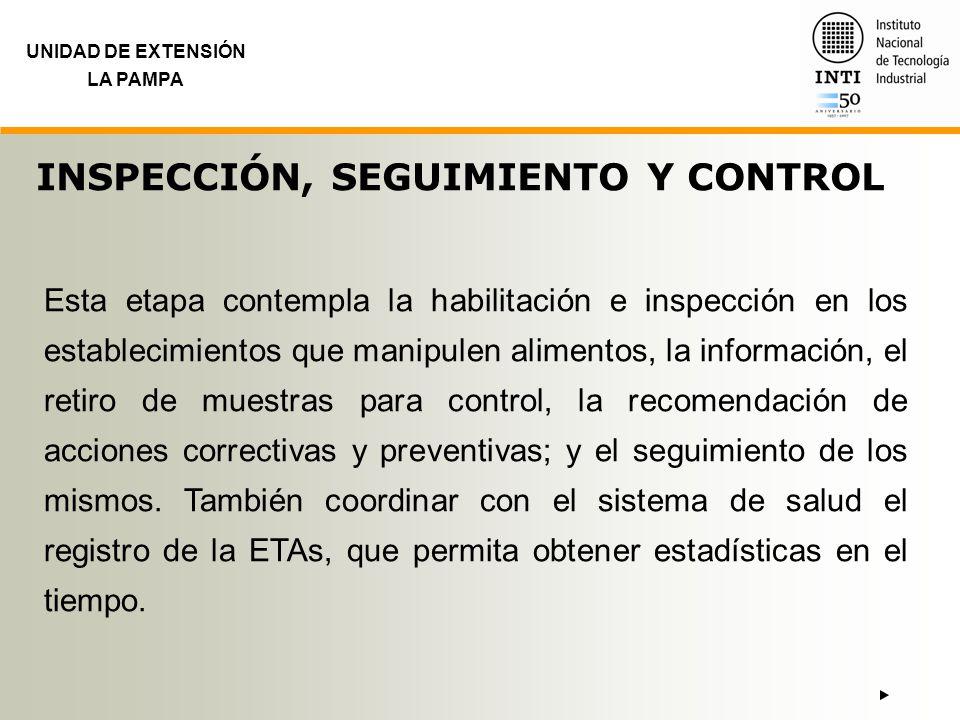 UNIDAD DE EXTENSIÓN LA PAMPA INSPECCIÓN, SEGUIMIENTO Y CONTROL Esta etapa contempla la habilitación e inspección en los establecimientos que manipulen