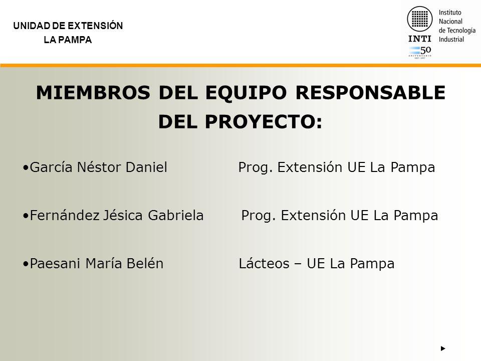 UNIDAD DE EXTENSIÓN LA PAMPA MIEMBROS DEL EQUIPO RESPONSABLE DEL PROYECTO: García Néstor Daniel Prog. Extensión UE La Pampa Fernández Jésica Gabriela