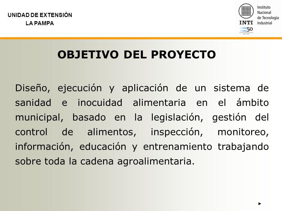 UNIDAD DE EXTENSIÓN LA PAMPA OBJETIVO DEL PROYECTO Diseño, ejecución y aplicación de un sistema de sanidad e inocuidad alimentaria en el ámbito munici