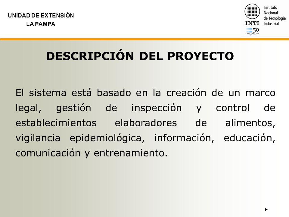 UNIDAD DE EXTENSIÓN LA PAMPA ETAPAS DEL PROYECTO Diseño del Marco Legal Creación del Área Bromatológica Capacitación, Difusión y Seguimiento Inspección, Seguimiento y Control