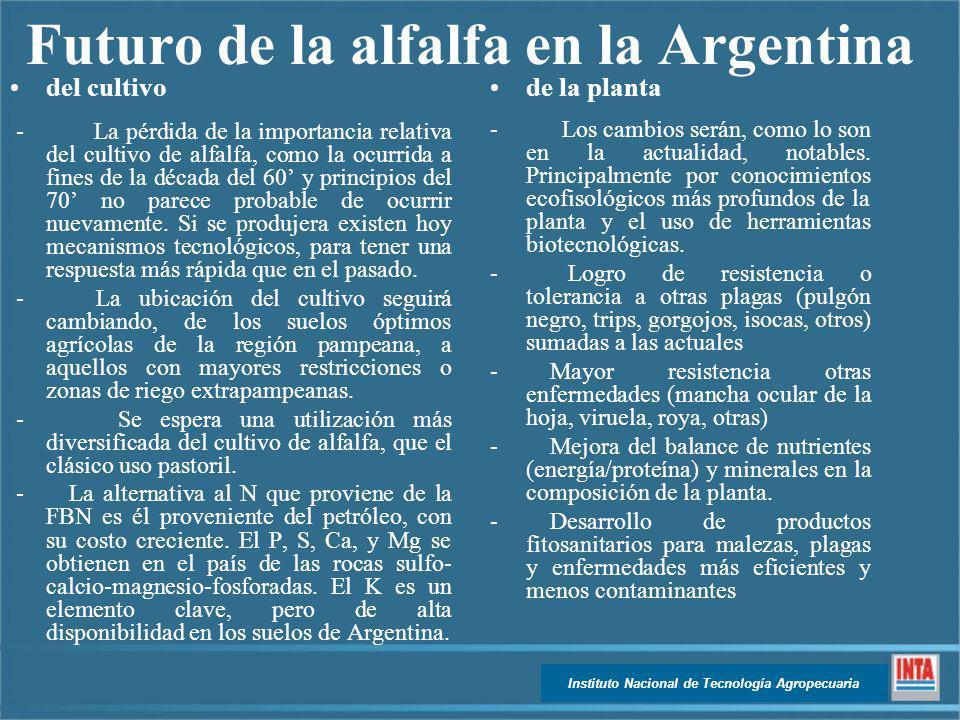 Instituto Nacional de Tecnología Agropecuaria Futuro de la alfalfa en la Argentina del cultivo - La pérdida de la importancia relativa del cultivo de