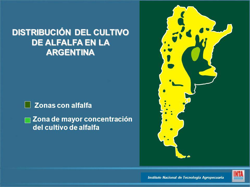 Instituto Nacional de Tecnología Agropecuaria Zonas con alfalfa Zona de mayor concentración del cultivo de alfalfa DISTRIBUCIÓN DEL CULTIVO DE ALFALFA