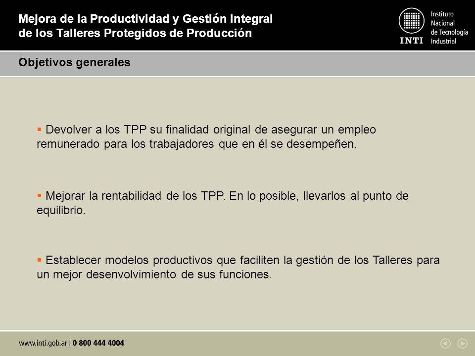 Mejora de la Productividad y Gestión Integral de los Talleres Protegidos de Producción Objetivos generales Devolver a los TPP su finalidad original de
