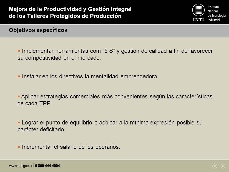 Mejora de la Productividad y Gestión Integral de los Talleres Protegidos de Producción Objetivos específicos Implementar herramientas com 5 S y gestió