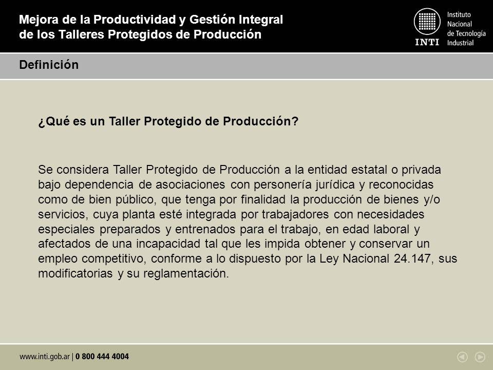 Mejora de la Productividad y Gestión Integral de los Talleres Protegidos de Producción ¿Qué es un Taller Protegido de Producción? Se considera Taller