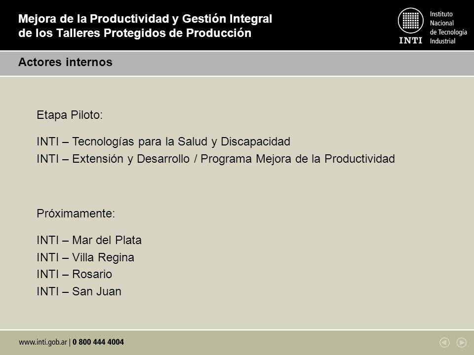 Mejora de la Productividad y Gestión Integral de los Talleres Protegidos de Producción Actores internos Próximamente: INTI – Mar del Plata INTI – Vill