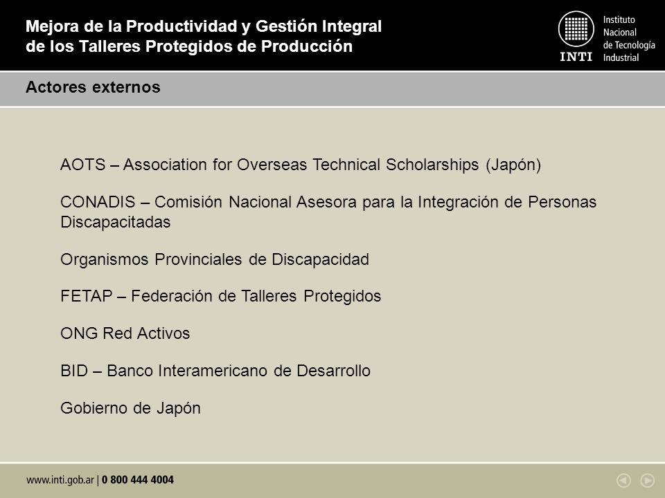 Mejora de la Productividad y Gestión Integral de los Talleres Protegidos de Producción Actores externos AOTS – Association for Overseas Technical Scho